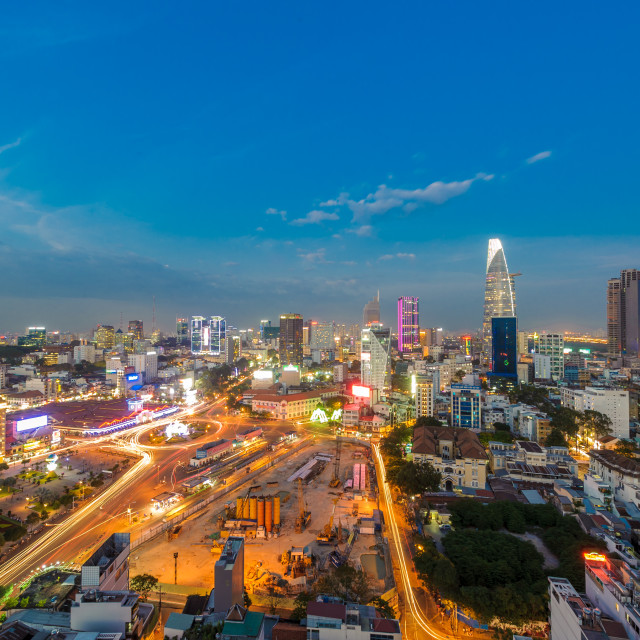 """Aerial view of Business and Administrative Center of Ho Chi Minh city at blue hour"" stock image"