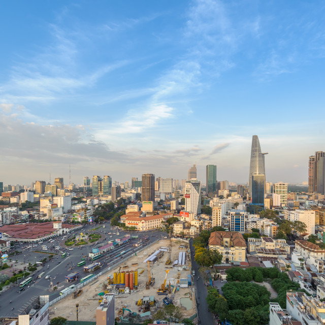 """Aerial view of Business and Administrative Center of Ho Chi Minh city"" stock image"