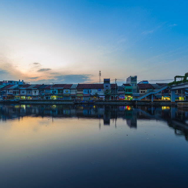 """Sunrise of The Old town stay belong Tau Hu canal, Saigon, Vienam"" stock image"