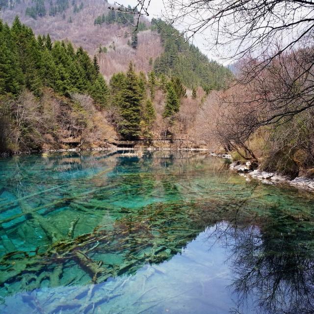 """Five Flower Lake, Jiuzhaigou, China"" stock image"