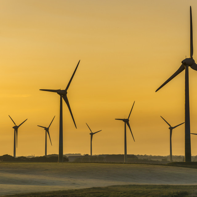 """Wind Turbines at Sunset."" stock image"