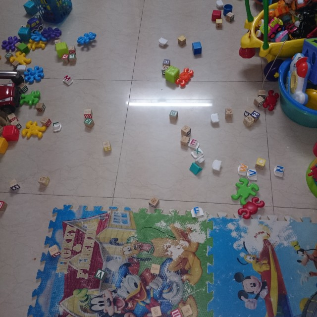 """Toys scattered in the room"" stock image"