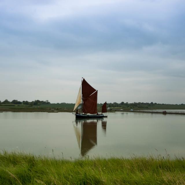 """Thames barge 'Cygnet' under sail"" stock image"