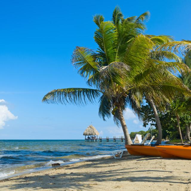 """Kayaks on a beach"" stock image"
