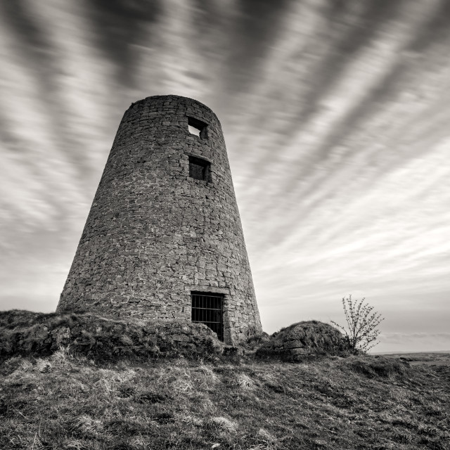 """The Old Mill on Cleadon Hills"" stock image"