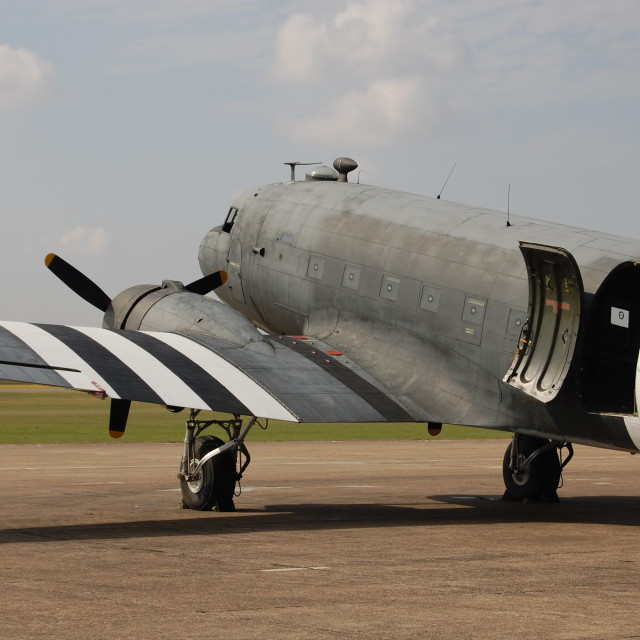 """C-47A with D-Day stripes"" stock image"