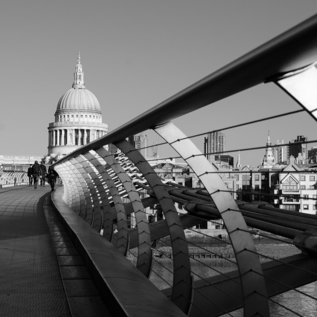 """Millennium Bridge and St Paul's"" stock image"