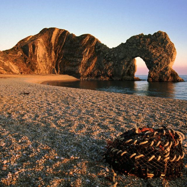 """Last light on Durdle Door"" stock image"