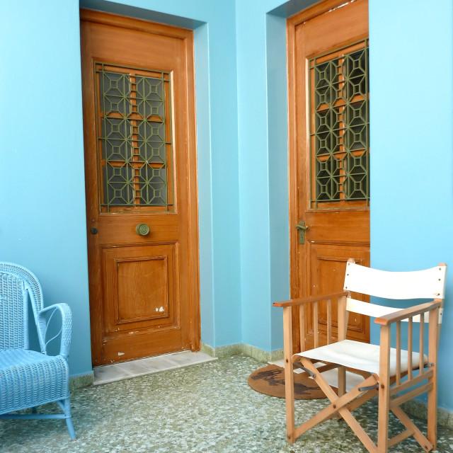 """Blue house entrance"" stock image"