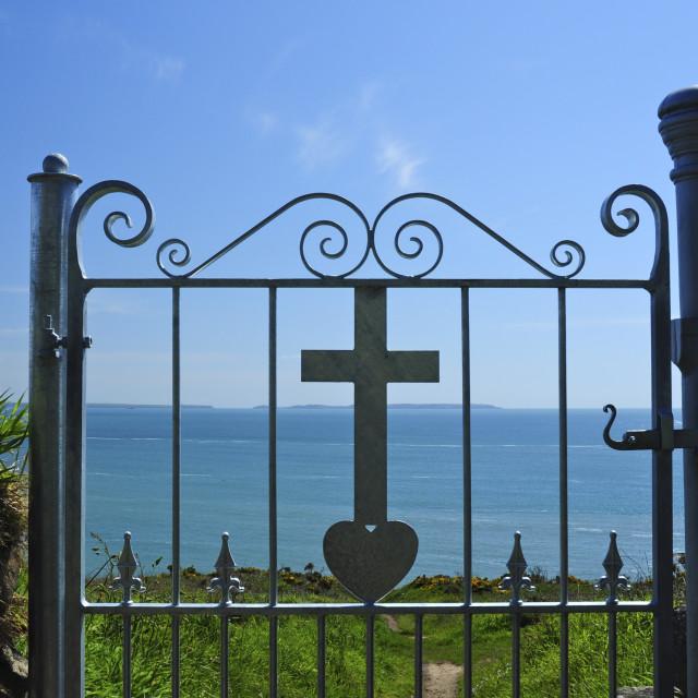 """Gate, Cross and Sea"" stock image"