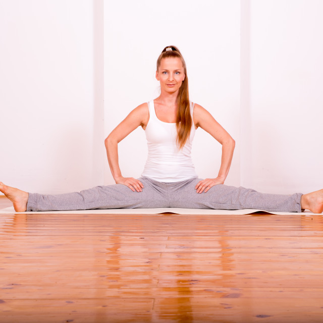 """""""Woman practicing Yoga in a Studio"""" stock image"""