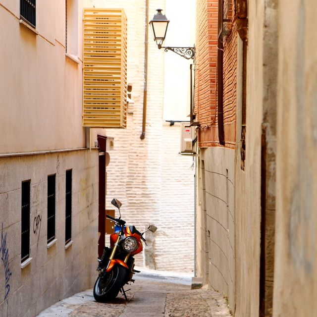 """Old city central street in Toledo"" stock image"