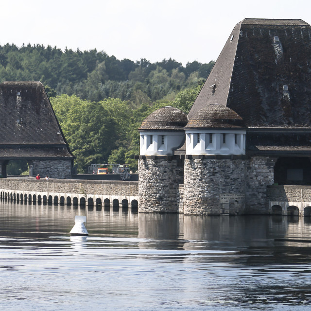 """Mohne Dam Towers"" stock image"
