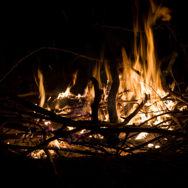"""Campfire from Side"" stock image"