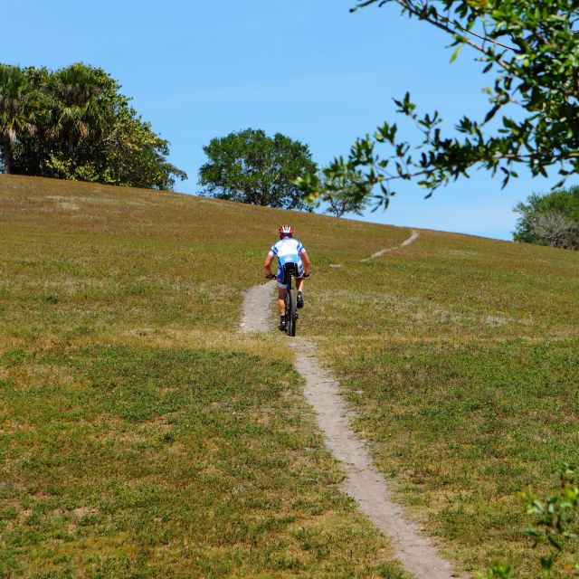 """Cyclist riding up hill at local park"" stock image"