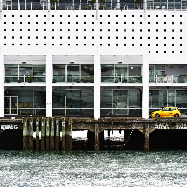 """Yellow car an geometric shapes"" stock image"