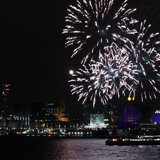 """cunard celebration fireworks"" stock image"