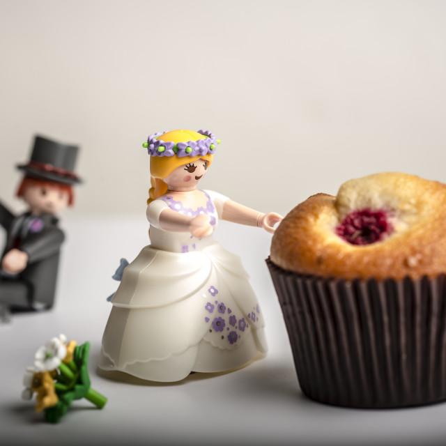 """""""Bride and Groom and a Muffin"""" stock image"""