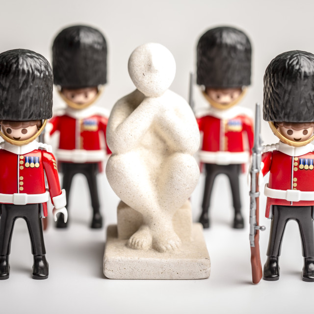 """""""British Guards protect The Thinker"""" stock image"""