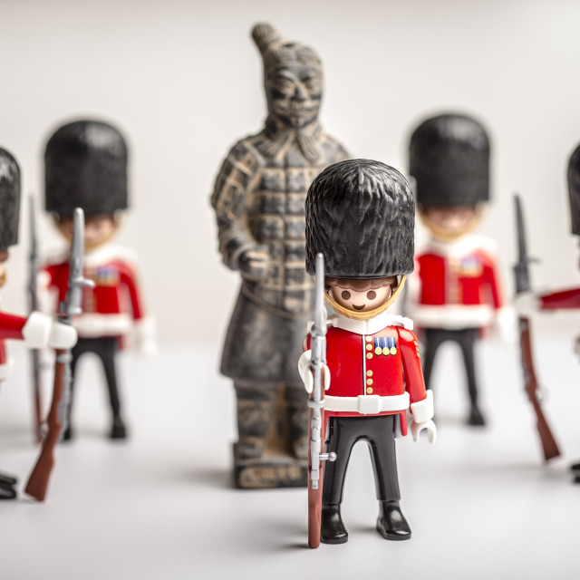 """""""British Guards protect a Chinese Warrior"""" stock image"""
