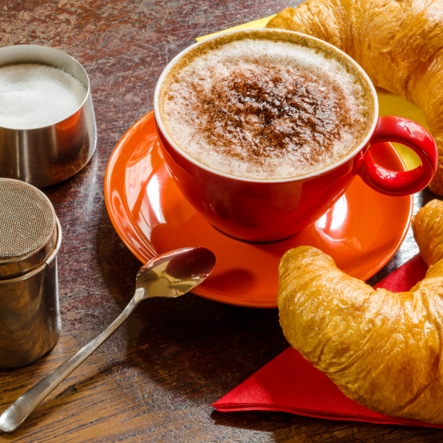"""Coffee With Milk And Croissants"" stock image"