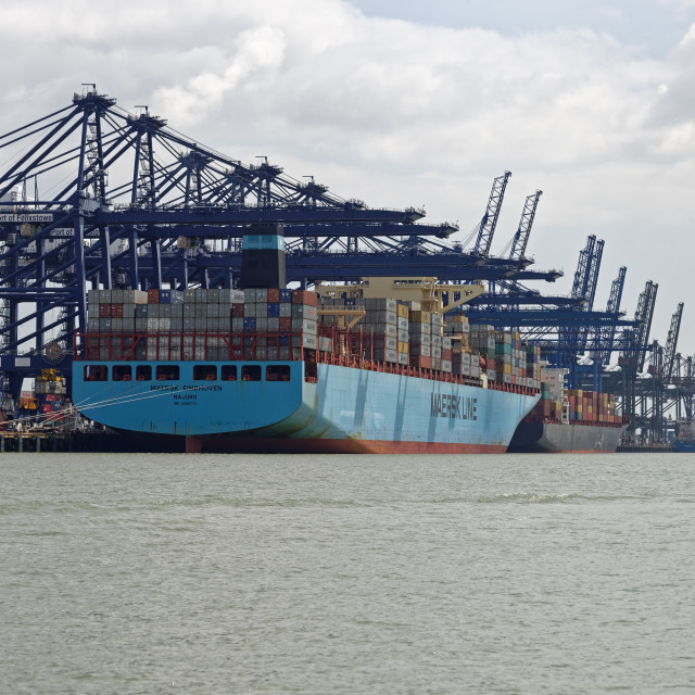 """'Maersk Eindhoven' Container Ship in Felixstowe Container Port,UK"" stock image"