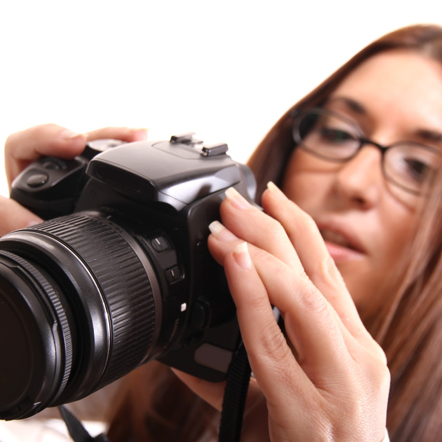"""Reviewing the digital Camera"" stock image"