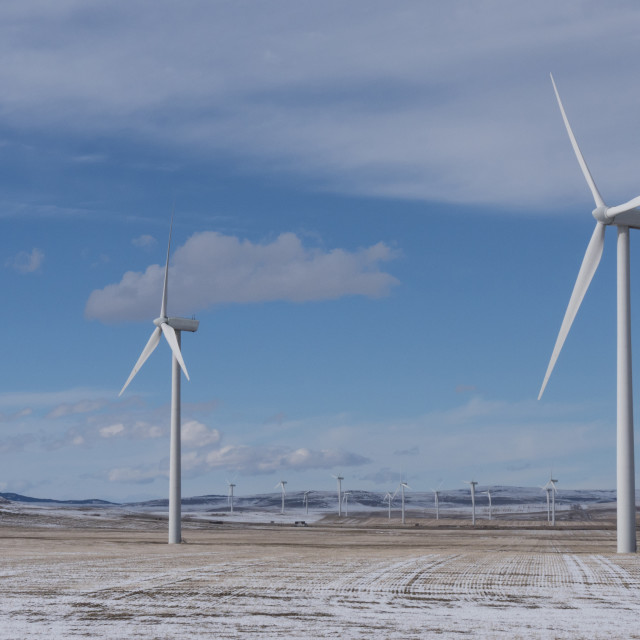 """Winter Wind Turbines"" stock image"