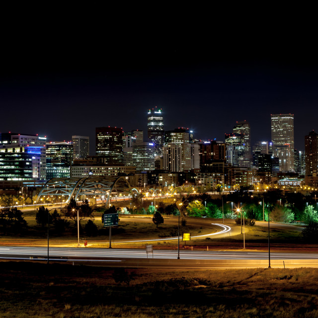 """Denver Night Skyline"" stock image"