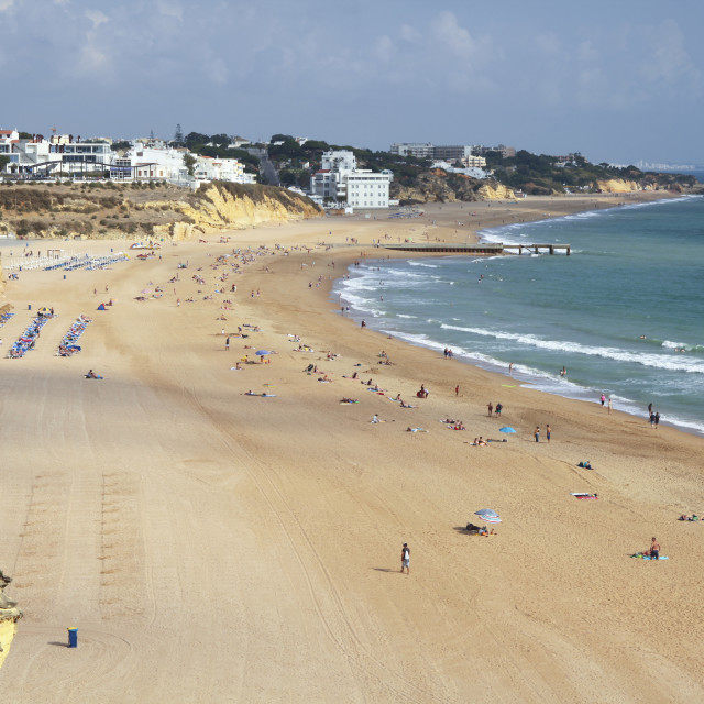 """""""The wide beach at Albufeira in Portugal"""" stock image"""