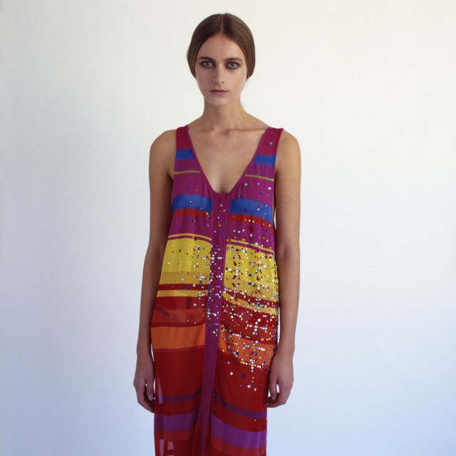 """Model in colourful dress"" stock image"