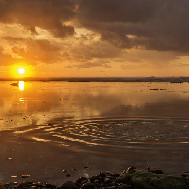 """Watersplash sunset"" stock image"