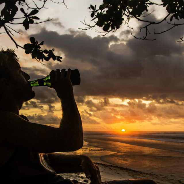 """Sunset drinking"" stock image"