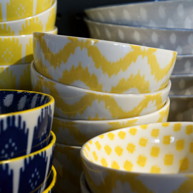 """Colourful ceramic bowls"" stock image"