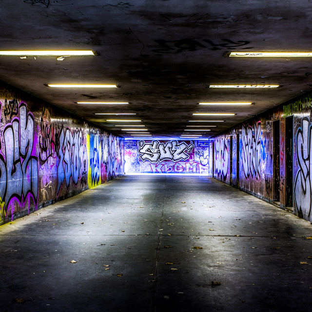 """Graffiti Tunnel Street Art"" stock image"