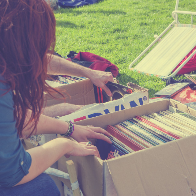 """""""Looking for second hand vinyl"""" stock image"""