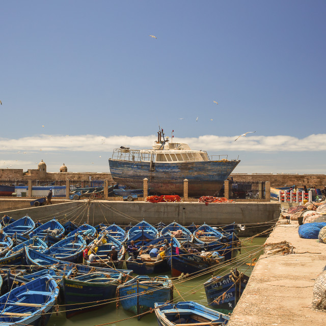 """Fishing boat harbor Essaouira, Morocco"" stock image"