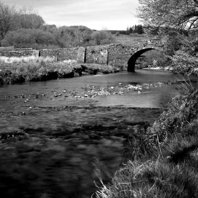 """Dartmoor Bridge (B+W)"" stock image"