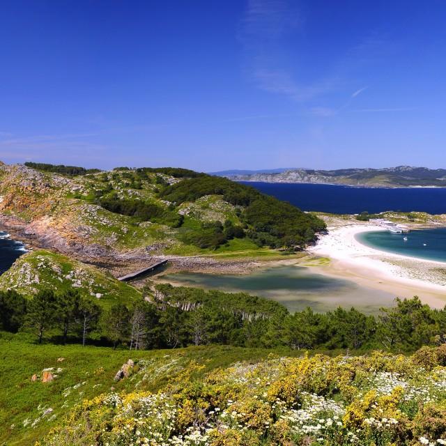 """Rodas beach in Islands Cies."" stock image"