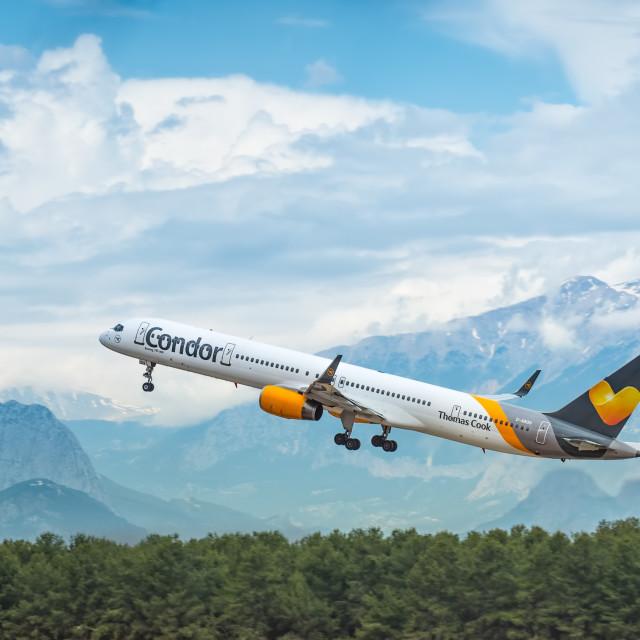 """Condor Boeing 757 blasting off"" stock image"