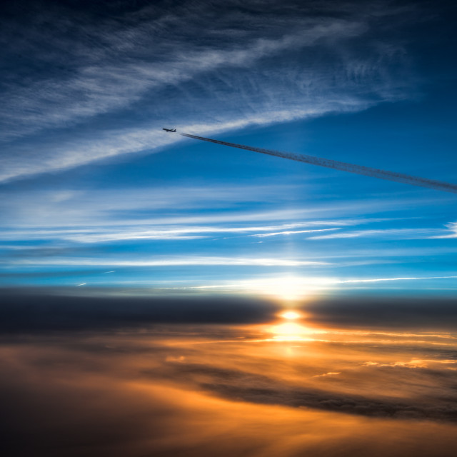 """Sunset from high altitude"" stock image"