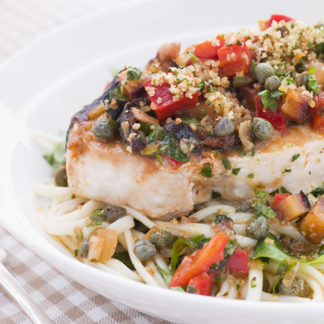 """""""Baked Sicilian Swordfish with Linguine"""" stock image"""