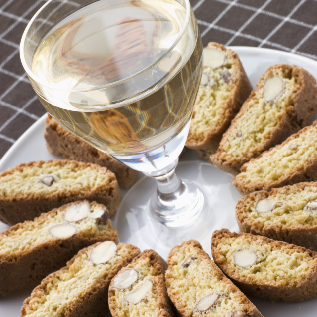 """Hazelnut Cantuccini Biscotti with Dessert Wine"" stock image"