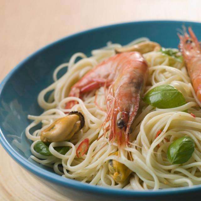 """""""Bowl of Shellfish Linguine"""" stock image"""