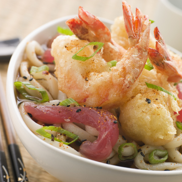 """""""Bowl of Tempura Tiger Prawn and Udon Noodle Broth with Yellow Fin tuna"""" stock image"""