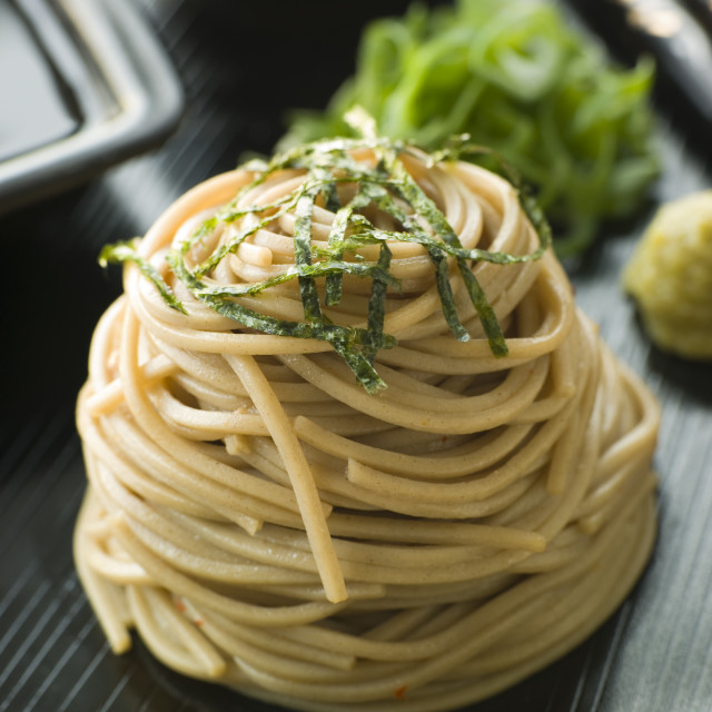 """Chilled Soba Noodles With Wasabi and Soy Sauce"" stock image"