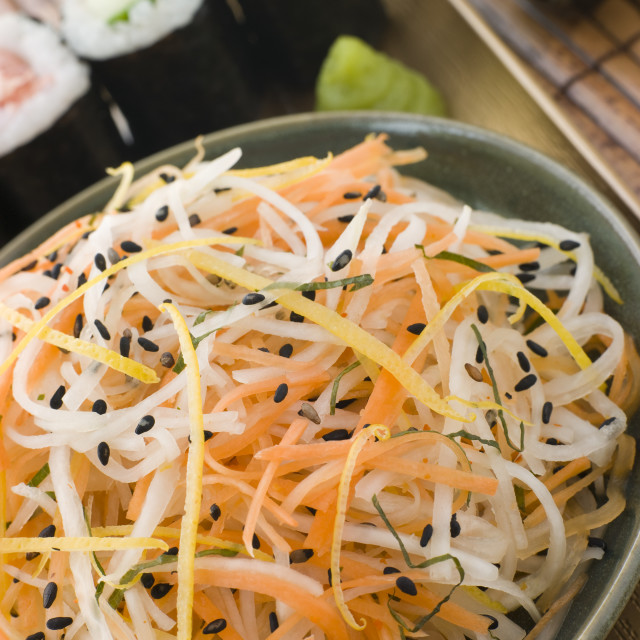 """Daikon and Carrot Salad with Sesame Sushi and Wasabi"" stock image"