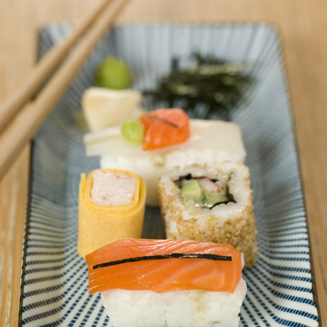 """Plated Sushi with Wasabi Sushi Ginger and nori"" stock image"