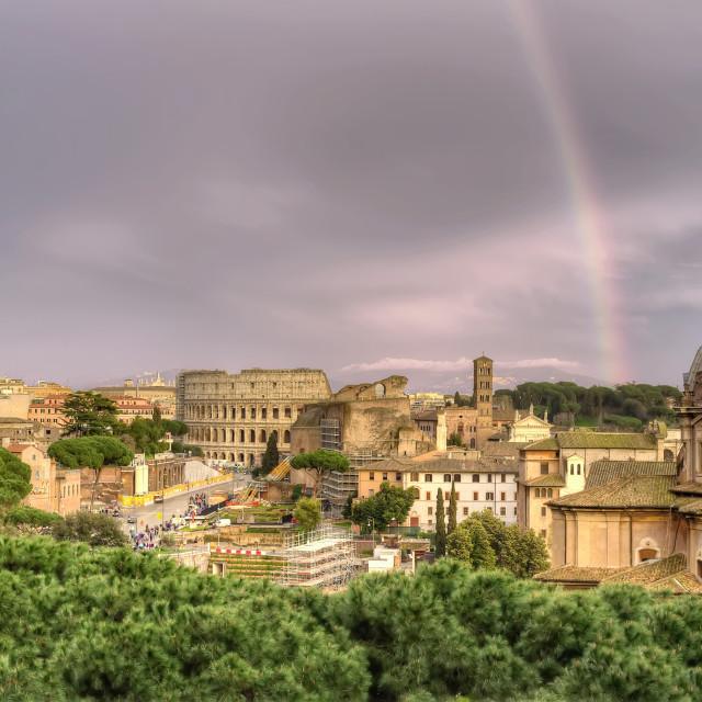 """Rainbow over Rome"" stock image"