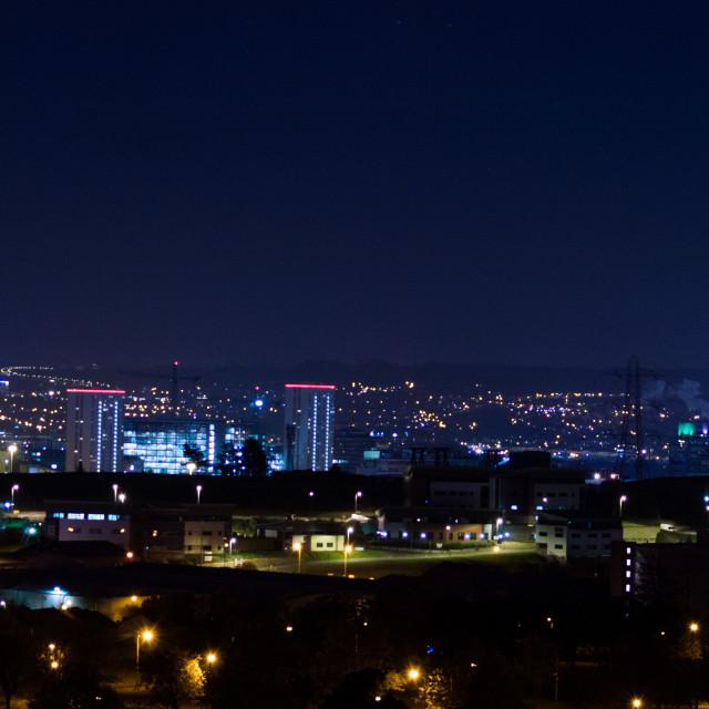 """Glasgow at night"" stock image"